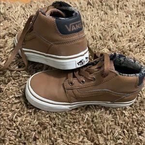 Youth Vans Brown leather high-tip tie sneaker.